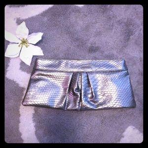 Silver/gunmetal snakeskin clutch